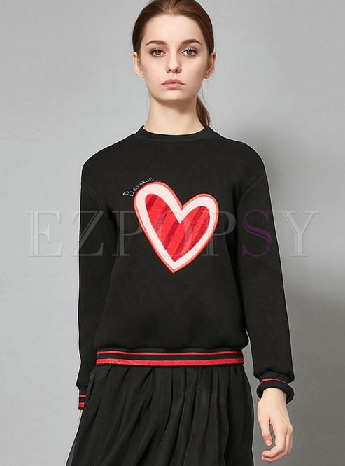 O-neck Long Sleeve Heart Print Sweatshirt