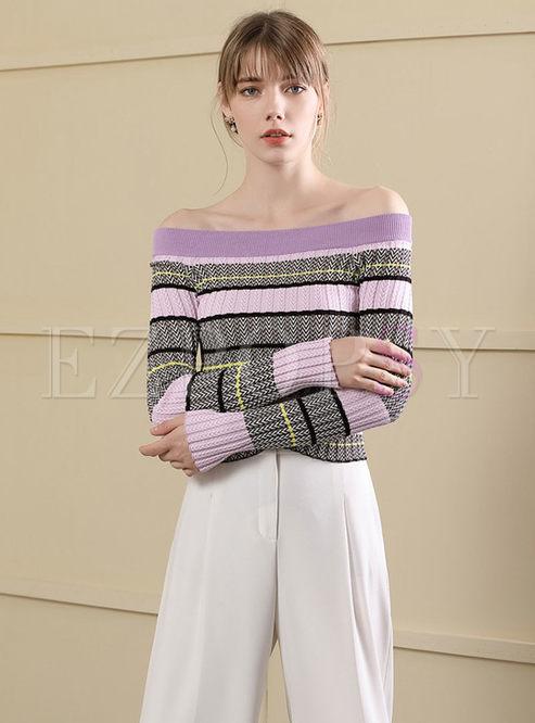 Chic Striped Slash Neck Slim Short Sweater