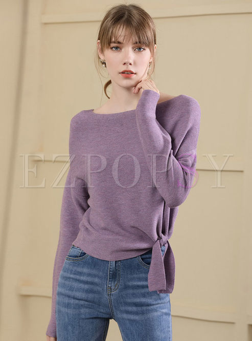 Casual Pure Color O-neck Tied Knitted Sweater