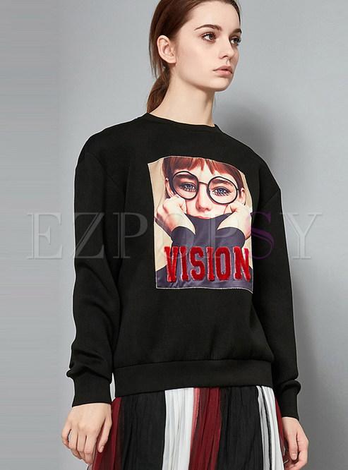 Black Loose O-neck Long Sleeve Print Sweatshirt