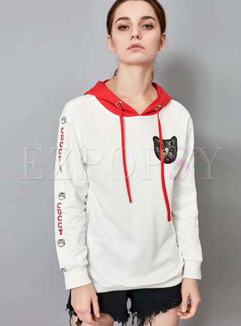 Fashion Color-blocked Hooded Tied Sweatshirt