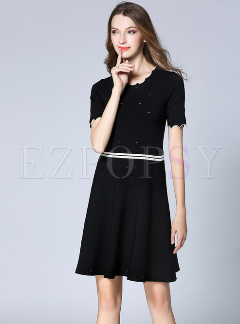 Dresses Knitted Dresses Stylish Black Scalloped Trim Splicing A