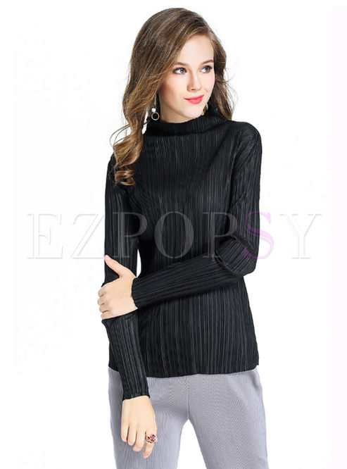T-shirts.   Brief Black High Neck Long Sleeve ... 4ea217de3