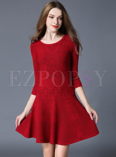 Dresses Skater Dresses Fashion Red Half Sleeve Jacquard Plus