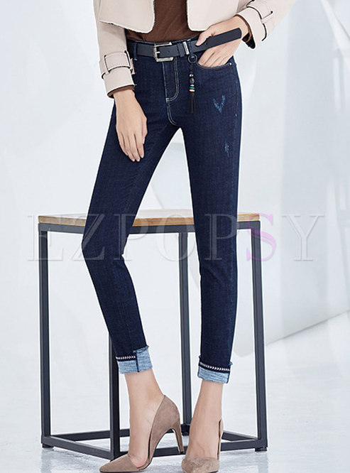 Winter Deep Blue Denim Pencil Pants With Tipped Detail