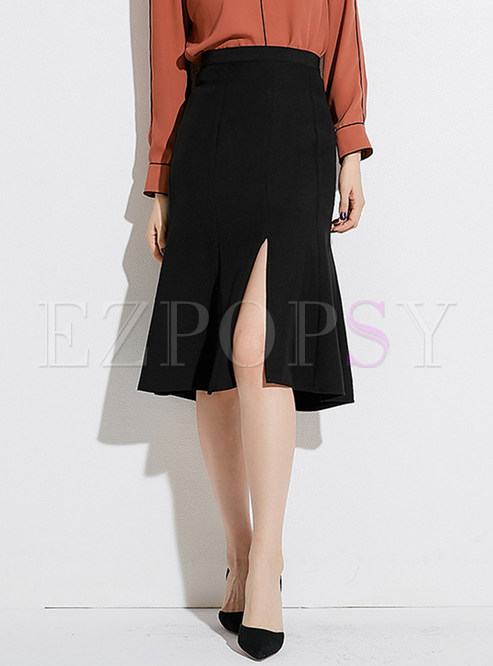 Chic Black High Waist Slit Mermaid Skirt