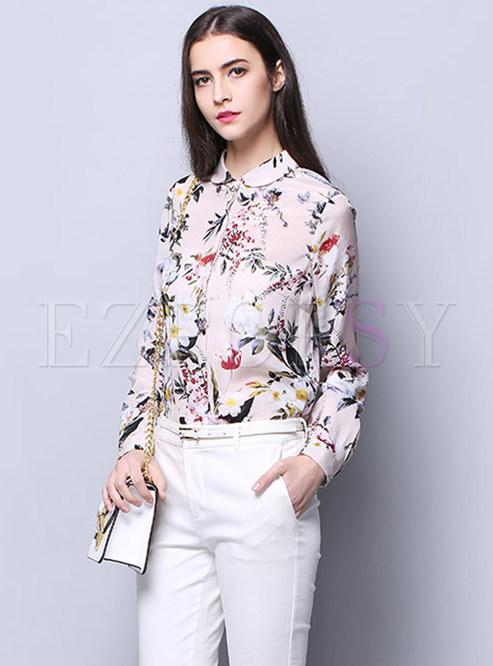 Fashionable Print Turn Down Collar Slim Blouse