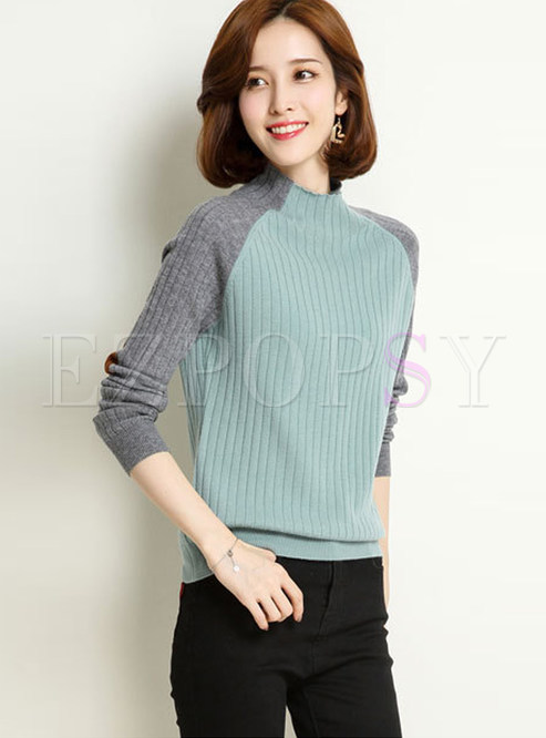 Chic Color-blocked Slim Easy-matching Knitted Sweater