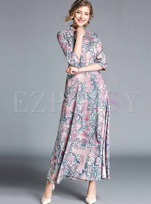 Elegant Print Three Quarters Sleeve Lapel High Waist Maxi Dress