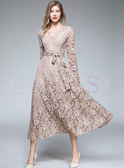 Elegant Pure Color V-neck Long Sleeve Belted Slim Maxi Dress
