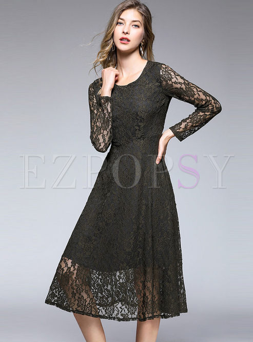 Solid Color Hollow Out Long Sleeve High Waist Slim Lace Dress