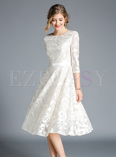 Pure Color Splicing O-neck High Waist Hollow Out Lace Dress