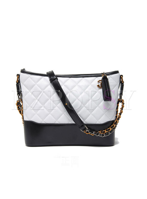 Fashion Contrast-color Genuine Leather Square Crossbody Bag