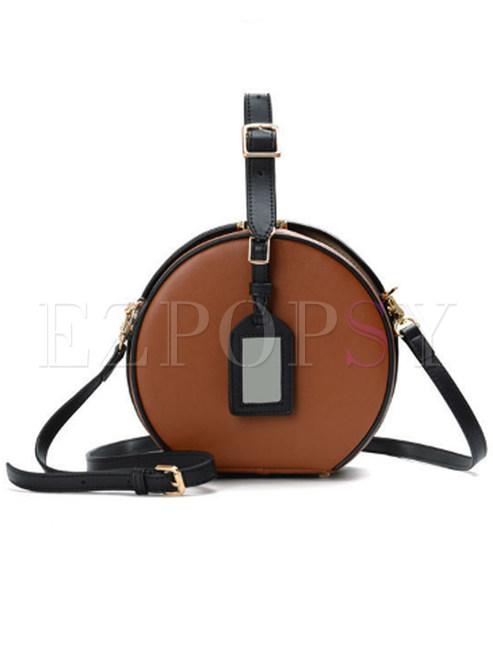 Vintage Circle Leather Lock Top Handle & Crossbody Bag