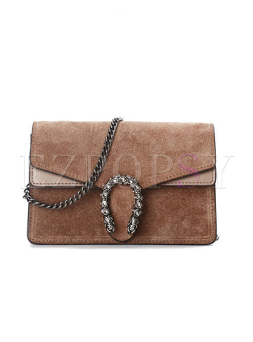 Stylish Leather Stitching Scrub Handbag & Crossbody Bag
