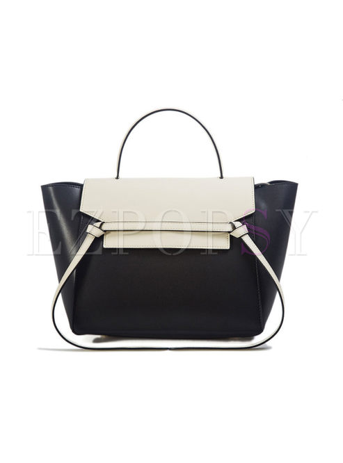 Casual Color-blocked Top Handle Bag
