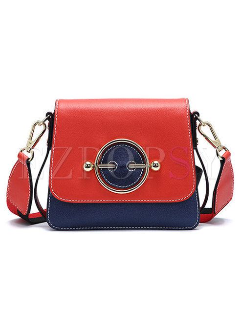 PU Ring Sapphire Blue Color-blocked Tote & Crossbody Bag