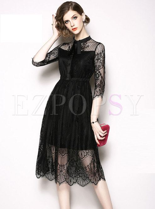 Three Quarters Sleeve Black Lace Pleated Hem Dress