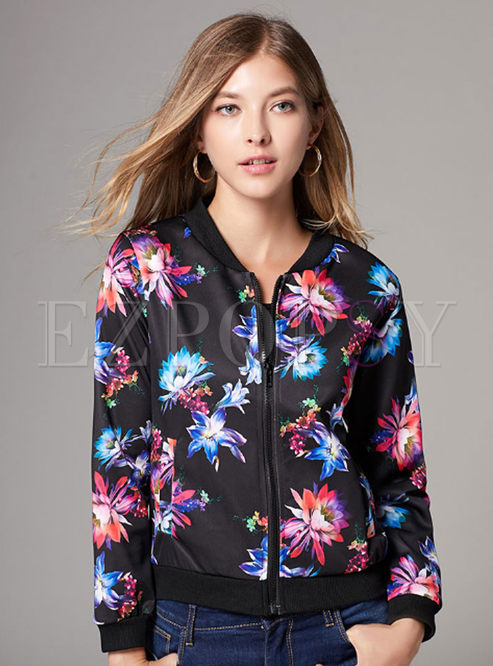 Print Crew Neck Zipper Short Jacket