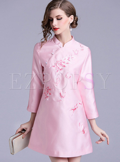 Pink Mandarin Collar Slim Improved Cheongsam Dress