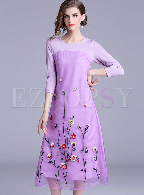 Three Quarters Sleeve Splicing Mesh Embroidered Dress