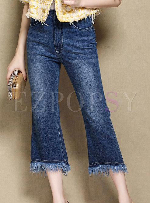Casual Blue Denim Flare Pants With Fringed Detail