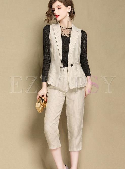Fashion OL Lapel Vest & striped Straight Mid-calf Pants