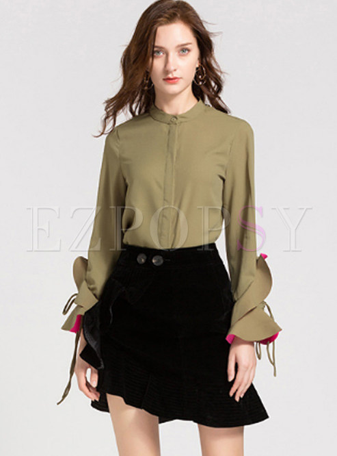 Standing Collar Ruffle Tied Slim Blouse