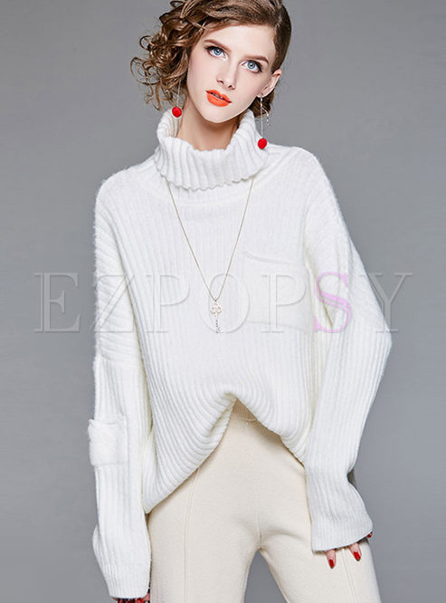 Loose Pure Color High Neck Knitted Sweater