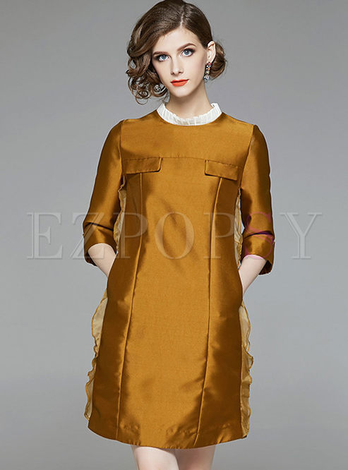 Chic Splicing Ruffled Collar Three Quarters Sleeve A Line Dress
