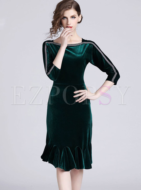 Three Quarters Sleeve Beaded Velvet Mermaid Dress