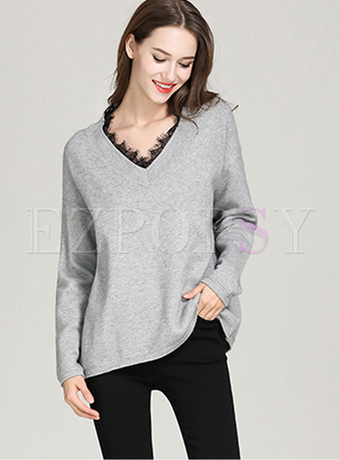 Grey Lace V-neck Splicing Bat Sleeve Slim Sweater