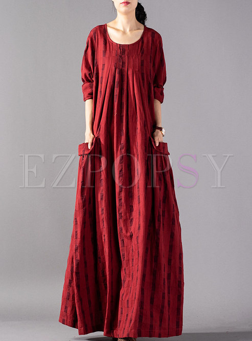 Fashion Ethnic Plaid Pleated Hem Maxi Dress