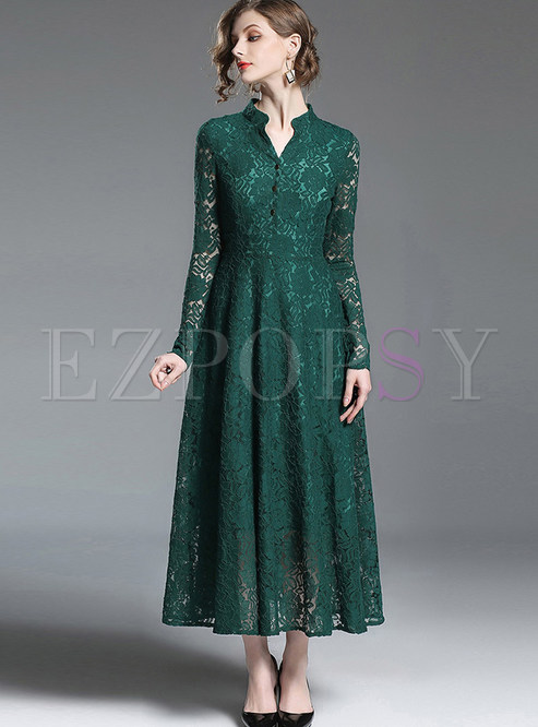 Dresses Maxi Dresses Green V Neck Long Sleeve Lace Big
