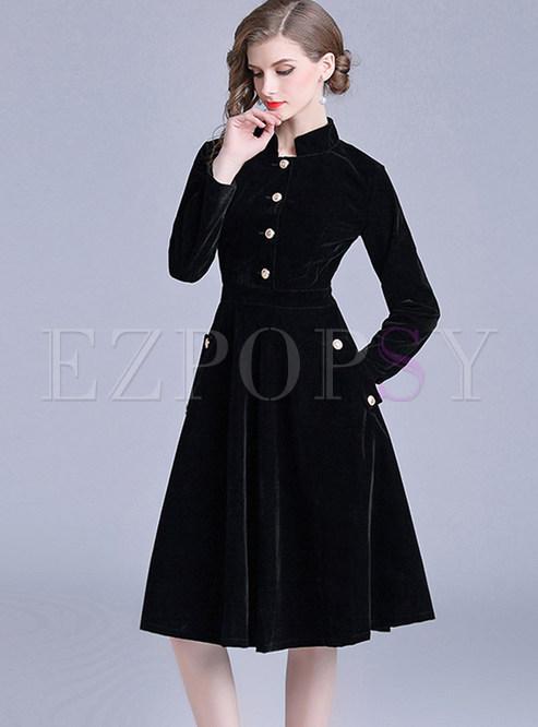 Stand Collar Black Single-breasted Velvet A Line Dress
