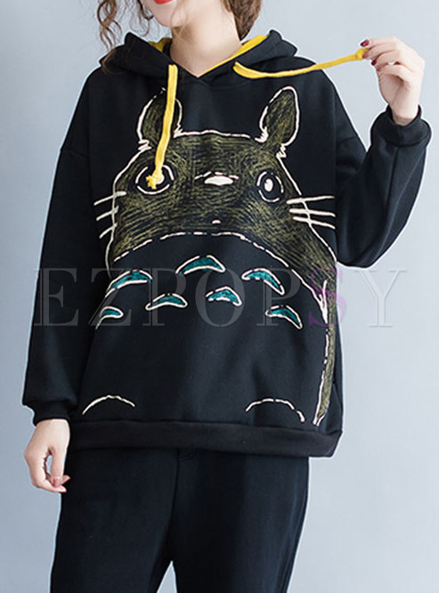 Casual Plus Size Totoro Pattern Hooded Hoodies