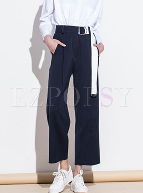 Casual Solid Collar High Waist Belted Wide Leg Pants
