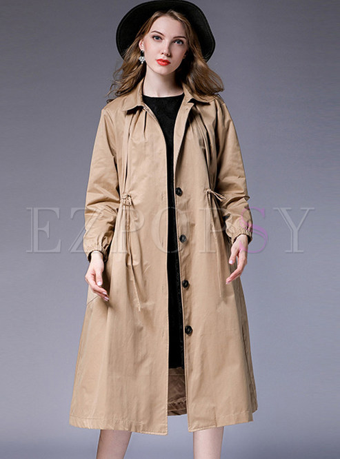 Turn Down Collar Tie-waist Pocket Loose Coat