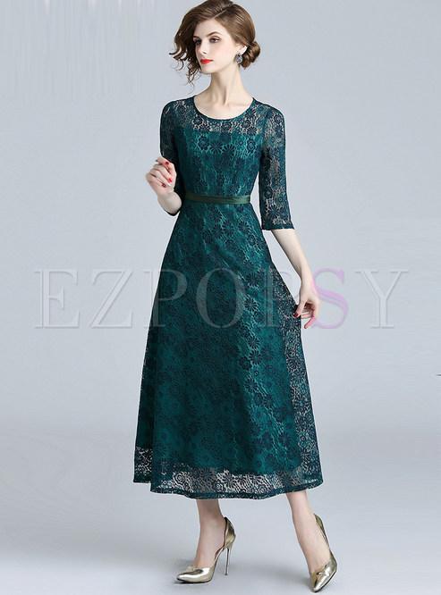 O-neck Three Quarters Sleeve Waist Lace Maxi Dress