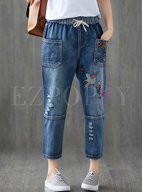 Brief Embroidered Straight Denim Big Pockets Harem Pants