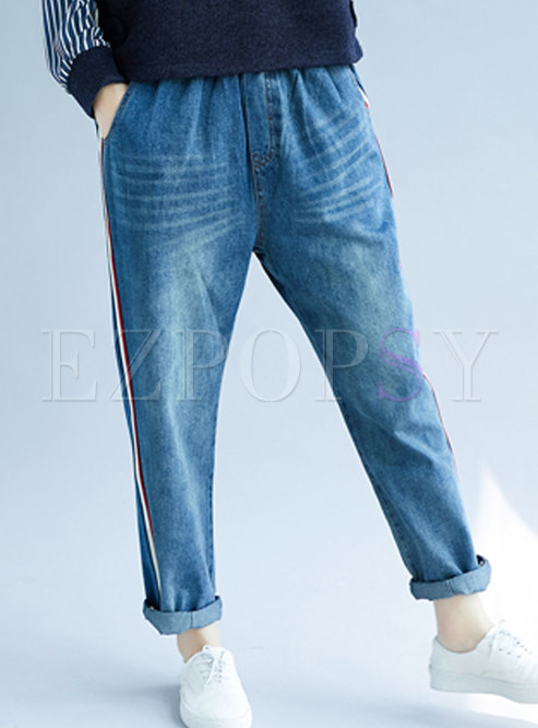 7e030af126663 Pants.   Fashionable Blue Plus Size Distressed Denim Harem Pants
