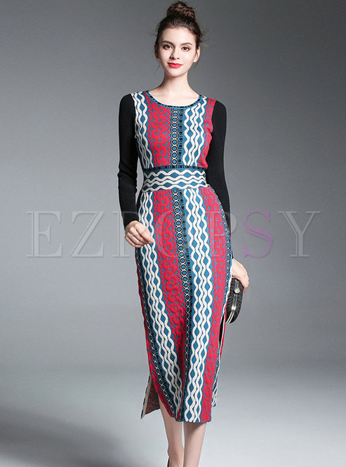 Color-blocked O-neck Gathered Waist Side-slit Sheath Knitted Dress