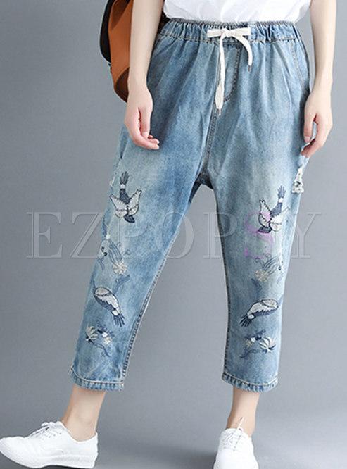 Brief Blue Plus Size Elastic Waist Denim Pants