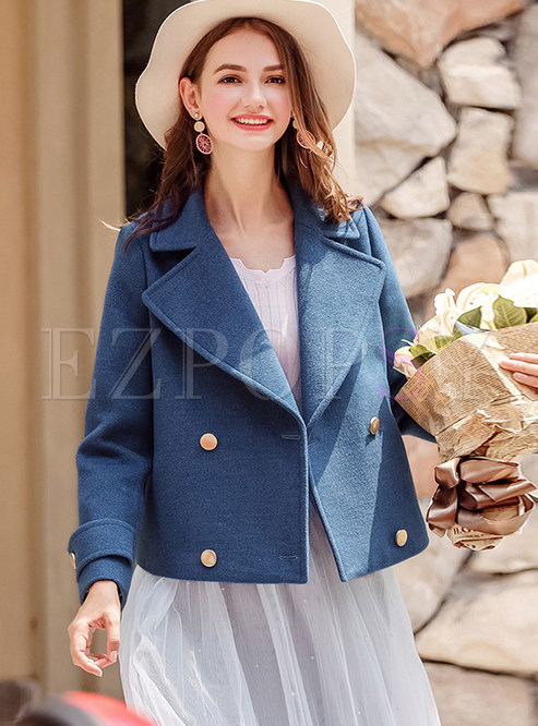 Solid Color Lapel Double-breasted Short Woolen Coat