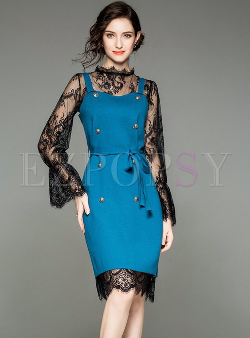 Chic Lace Perspective Dress & Sling Buttoned Belt Sweater