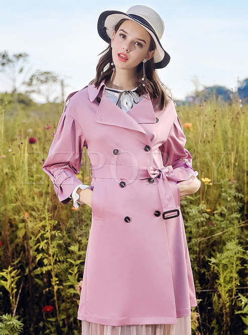 Pure Color Turn Down Collar Double-breasted Belted Trench Coat