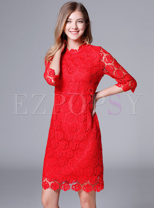 Elegant Red High Waist Hollow Out Perspective Lace Sheath Dress