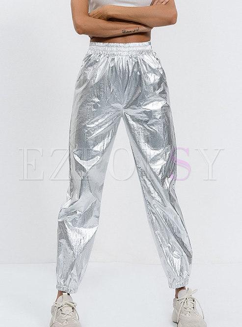 Casual Silver Elastic Waist Pocket Pants