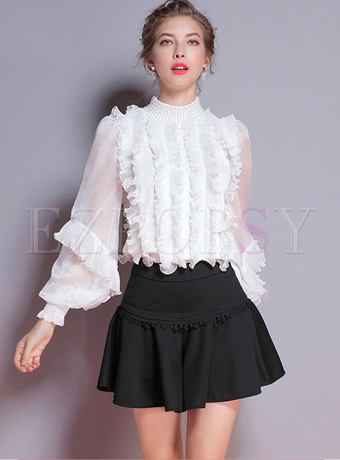 Fashion Beaded Lantern Sleeve Multi-layer Blouse