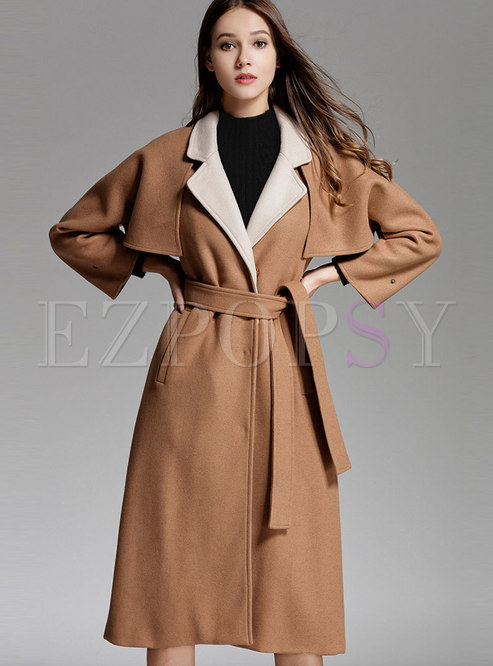 Camel Bat Sleeve Wool Knee-length Overcoat